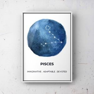 Pisces zodiac sign constellation blue art print